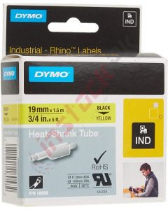 "DYMO: Industrial Heat Shrink Tube for RhinoPro Label Maker Black on Yellow, 3/4"" - 18058"